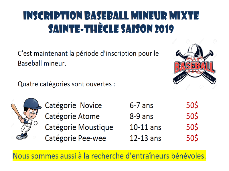 Inscription baseball mineur mixte