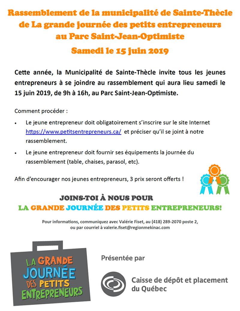 Rassemblement de la municipalité de Sainte-Thècle de La grande journée des petits entrepreneurs